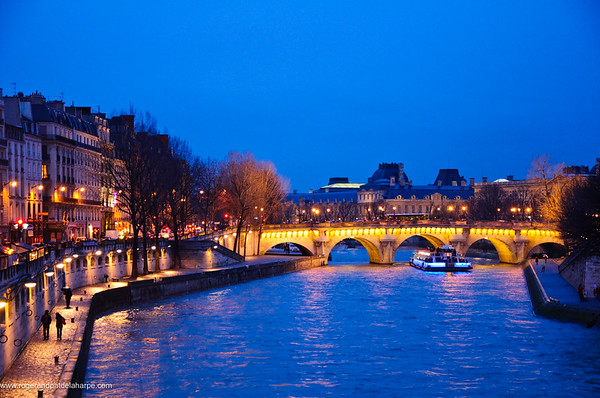 "The Seine River at Dusk showing the Pont Neuf (French for ""New Bridge""). It is the oldest standing bridge across the river Seine. Paris. France"