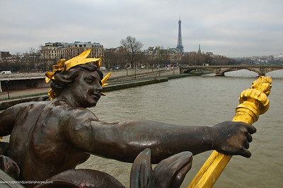 View Eiffel Tower from Le pont Alexandre III or the Alexandre III Bridge. Paris. France