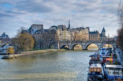Views of the Seine River and Ile de la Cite or City Island. Paris. France