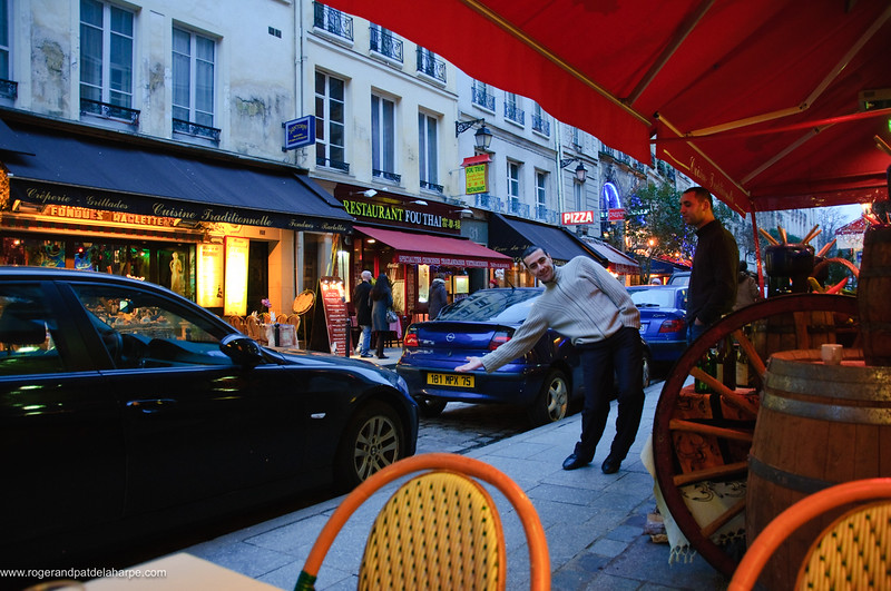 Street scene from a side walk cafe in the Latin Quarter. Paris. France