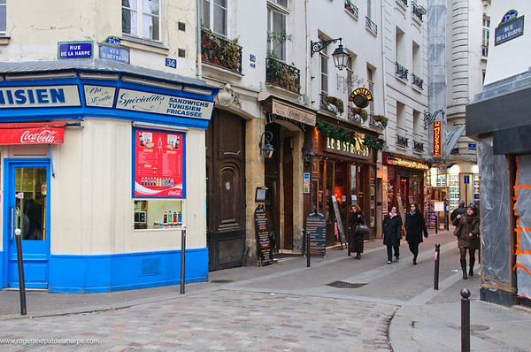 Street scene in the Latin Quarter. Paris. France