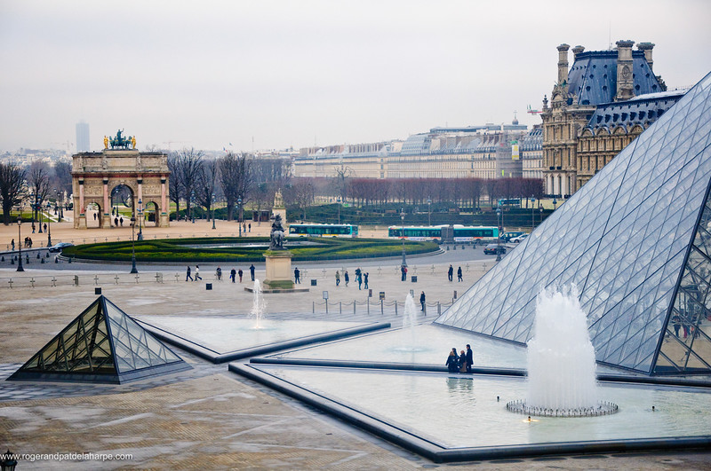 The Louvre Art Gallery or Musée du Louvre showing the Louvre Pyramid. Paris. France