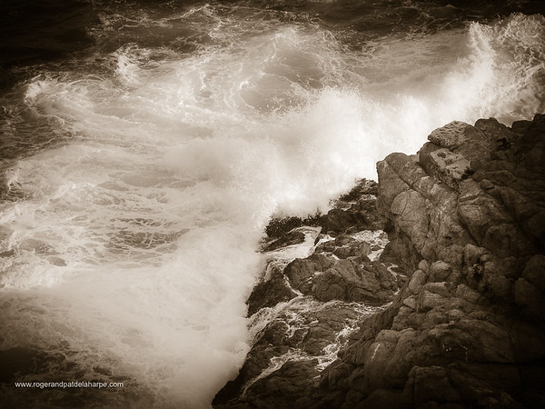 Image Number GH5R315730. Waves breaking onto rocks. Garden Route. Western Cape. South Africa
