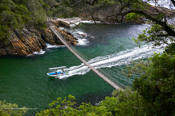 Suspension bridge over Storms River. Storms River National Park. Western Cape. South Africa