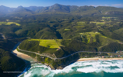 Aerial view. Keurbooms River. Garden Route. Western Cape, South Africa.