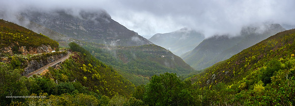 A cloudy, rainy day on the Montagu Pass over the Outeniqua Mountains. George. Garden Route. Western Cape. South Africa