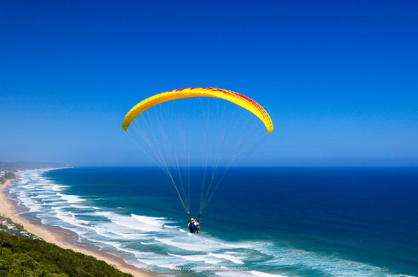 Para-gliding near Wilderness. Garden Route. Western Cape, South Africa.