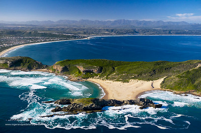 Aerial view. Garden Route Robberg and Plettenberg Bay (Plettenbergbay). Western Cape, South Africa.