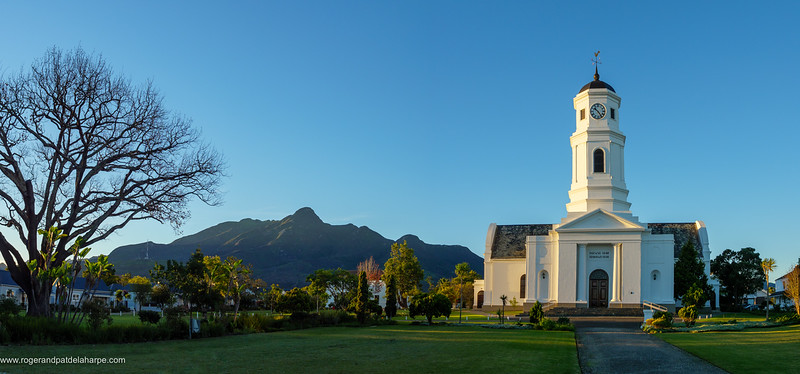 The historic  Nederduits Gereformeerde Kerk or Dutch Reformed Church in George with the Outeniqua Mountains in the background. Garden Route. Western Cape. South Africa