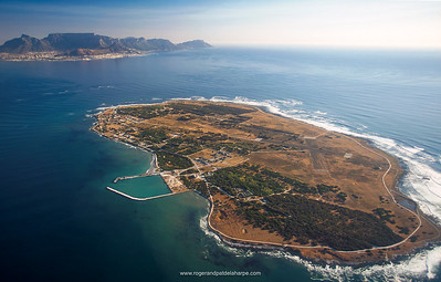 Aerial View of Robben Island and Cape Town