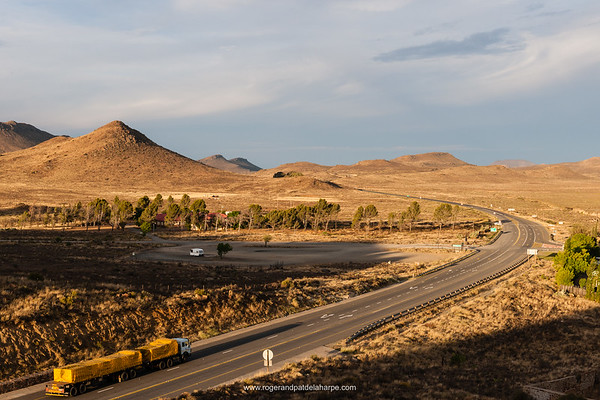 The N2 highway at Richmond. Central Karoo region of the Northern Cape Province. South Africa. The naming of the town originated in the desire of the townsfolk to honour the then new Governor of the Cape, Sir Peregrine Maitland, who took office in 1844. Maitland declined, suggesting instead that it be named after his father-in-law, the Duke of Richmond. It was officially named Richmond in October 1845.