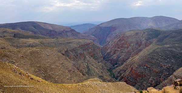 Image Number GH5R398336-Pano. Swartberg Pass through the Swartberg Mountains. Great Karoo. Prince Albert. Western Cape. South Africa
