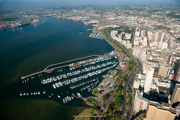 Aerial view of the city, Point and Royal Yacht Clubs and small craft harbour. Durban. KwaZulu Natal. South Africa.