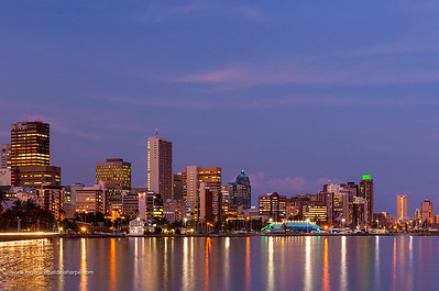 City skyline from Wilson's (Wilsons) Wharf at the harbour. Durban. KwaZulu Natal. South Africa.