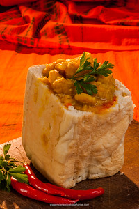 Bunny chow, a slang term for a South African fast food consisting of a hollowed out loaf of bread filled with curry. KwaZulu Natal. South Africa