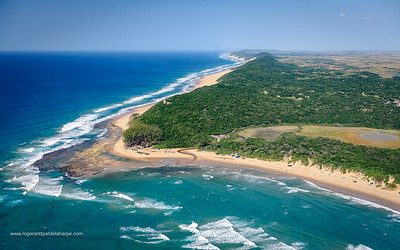 Aerial view of Sodwana Bay and the Maputaland coastline. iSimangaliso Wetland Park (Greater St Lucia Wetland Park). KwaZulu Natal. South Africa