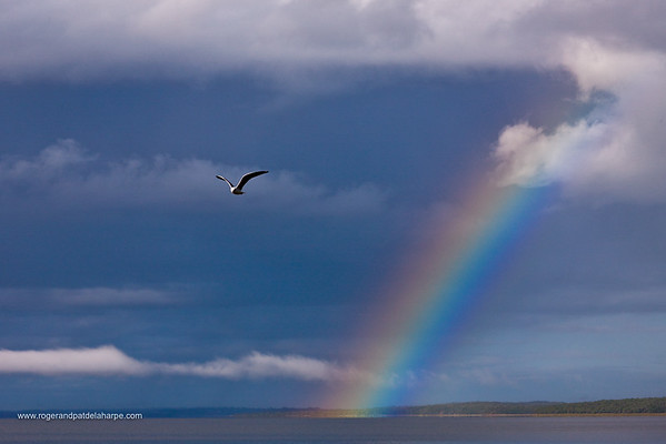 Storm and Rainbow over False Bay. Lake St Lucia. Isimangaliso Wetland Park (Greater St Lucia Wetland Park). KwaZulu Natal. South Africa