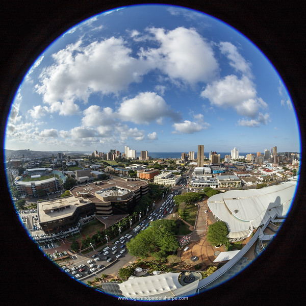 View of city of Durban or eThekwini and Durban International Convention Centre. KwaZulu Natal. South Africa.