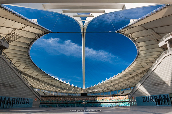 The Moses Mabhida Stadium main entrance showing interior. Durban. KwaZulu Natal. South Africa.
