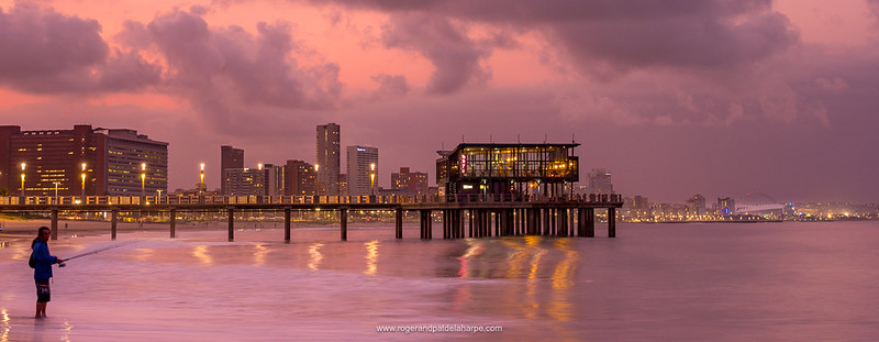 Skyline and beachfront view and Moyo Restaurant. Durban or eThekwini. KwaZulu Natal. South Africa.