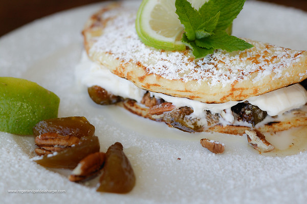 Pecan nut and ice cream pancake from Harri's Pancake Bar. Graskop. Mpumalanga. South Africa