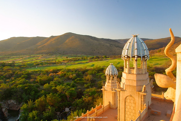 View from King Tower towards Lost City Golf Course. Palace of the Lost City. Sun City. North West Province. South Africa.