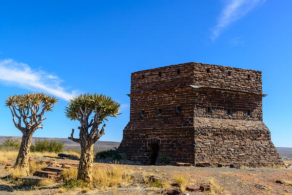 British fort built from Tigers Eye stone and Quiver tree Aloe dichotoma or kokerboom. Prieska. Northern Cape. South Africa.