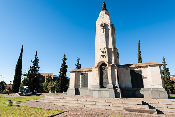 World War I memorial. Kimberley. Northern Cape. South Africa. While the official date (1918) to mark the end of the World War 1 reflects the cease fire on the Western Front, hostilities continued in other regions, especially across the former Russian Empire and in parts of the old Ottoman Empire.  It took a further six months of negotiations at the Paris Peace Conference to finalise when on 28 June 1919 the Treaty of Versailles was signed and ended the state of war between Germany and the Allied Powers, exactly five years after the assassination of Archduke Franz Ferdinand, a main contribution to the outbreak of the First World War. The war years engraved on memorials is a matter for local authorities to decide - 1914-1918 or 1914-1919.