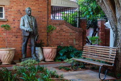 CJ Rhodes statue. Kimberley Club. A national monument since 1984, the Kimberley Club was established in August 1881. Among its more illustrious past members, it counts CJ Rhodes, Leander Starr Jameson, Charles Dunnell Rudd, Barney Barnato, Sir Ernest and Harry Oppenheimer. Kimberley. Northern Cape. South Africa.