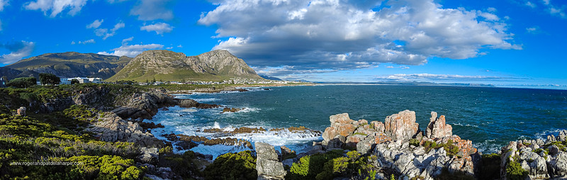 Image Number DJI-R 387502-Pano. View of rocky coastline, Walker Bay  and Klienrivier Mountains from Sievers Point. Hermanus, Whale Coast, Overberg, Western Cape. South Africa