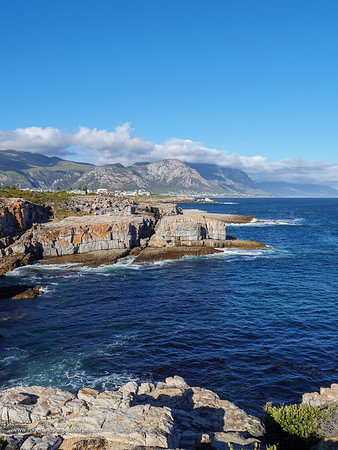 Image Number GH5R385595. View from Tamatiebank towards Hermanus and beyond. Kleinrivier Mountains in the background. Whale Coast. Overberg. Western Cape. South Africa