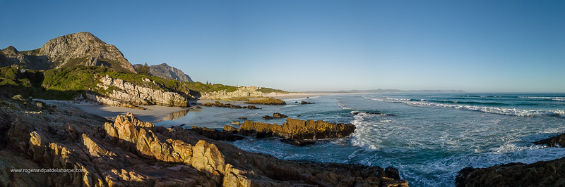 Image Number DJI-R 387581-Pano. The glorious Hermanus coastline showing Grotto Beach in the distance. Whale Coast. Overberg. Western Cape. South Africa