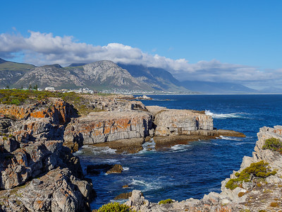 Image Number GH5R385603. View from Tamatiebank towards Hermanus and beyond. Kleinrivier Mountains in the background. Whale Coast. Overberg. Western Cape. South Africa