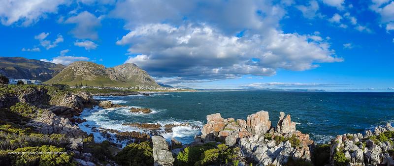 Image Number DJI-R 387497-Pano. View of rocky coastline, Walker Bay  and Klienrivier Mountains from Sievers Point. Hermanus, Whale Coast, Overberg, Western Cape. South Africa