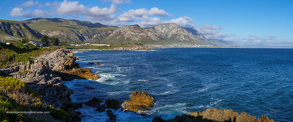 Image Number GH5R385625-Pano. View from Roman Rock towards Grotto Beach with the Kleinrivier Mountains in the background. Hermanus. Whale Coast. Overberg. Western Cape. South Africa