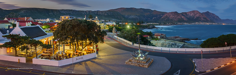 Image Number a7Riv403275-HDR-Pano. View of the restaurants at Gearings Point. The Old Harbour is also visalbe. Waterfront at Gearings Point. Hermanus. Whale Coast. Overberg. Western Cape. South Africa.