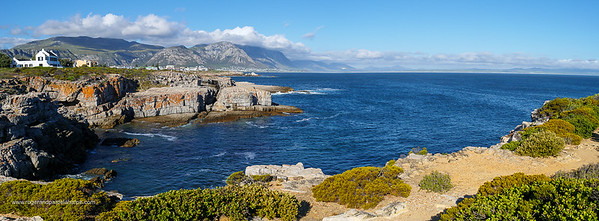 Image Number GH5R385531-Pano. View from Tamatiebank towards Hermanus and beyond. Kleinrivier Mountains in the background. Whale Coast. Overberg. Western Cape. South Africa