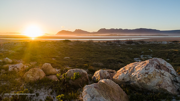 Image Number DJI-R 386631-Pano.. Botrivier (Botriver) Estuary with the Kogelberg Mountains in the background. Western Cape. South Africa