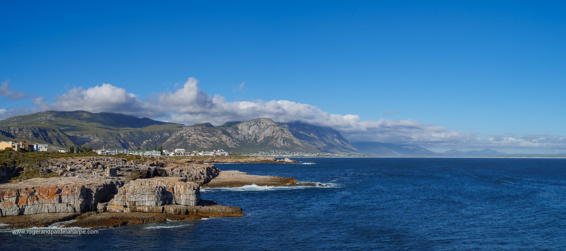Image Number GH5R385558-Pano. View from Tamatiebank towards Hermanus and beyond. Kleinrivier Mountains in the background. Whale Coast. Overberg. Western Cape. South Africa