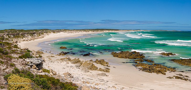 Image Number G9R385090-Pano. Jessie's (Jessies) Bay with a view to Quoin (or Quoine) Point. Near Pearly Beach. Overberg, Western Cape. South Africa