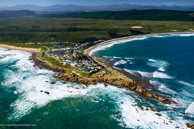 Aerial view. Buffels Bay. Otenique Mountains in distance. Garden Route. Western Cape, South Africa.
