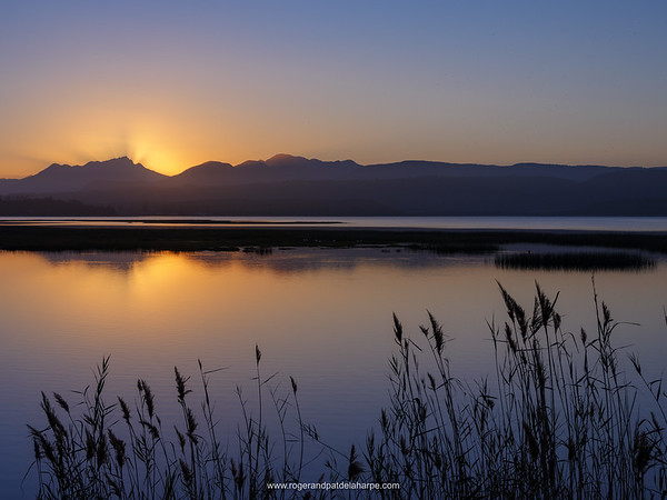 Sunset at Swartvlei Lake. Near Sedgefield. Garden Route. Western Cape. South Africa