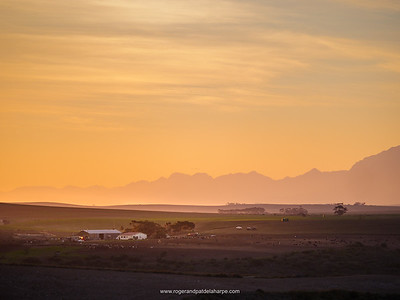 Rural scene and Langeberg Mountains near Malgas (Malagas). Western Cape. South Africa