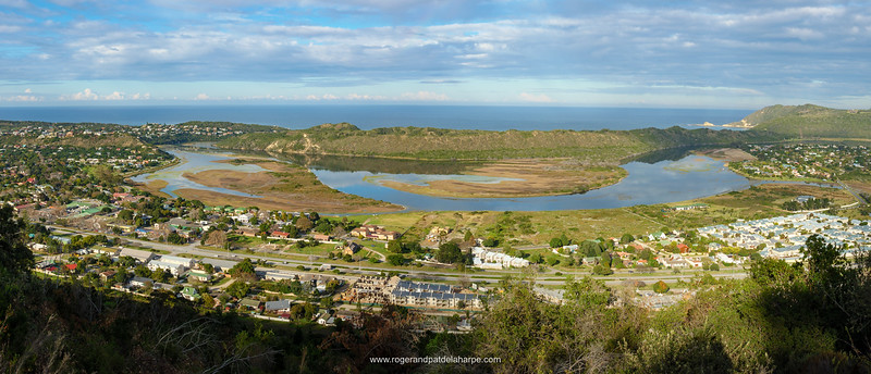View of Sedgefiel and Sedgefield Lagoon. Garden Route. Western Cape. South Africa
