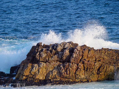 Image Number GH5R409331. Wave crashing into rock. Hermanus. Whale Coast. Overberg. Western Cape. South Africa