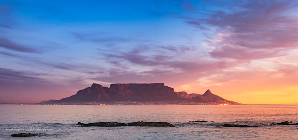 View of Table Mountain from Blouberg. Cape Town. Western Cape. South Africa