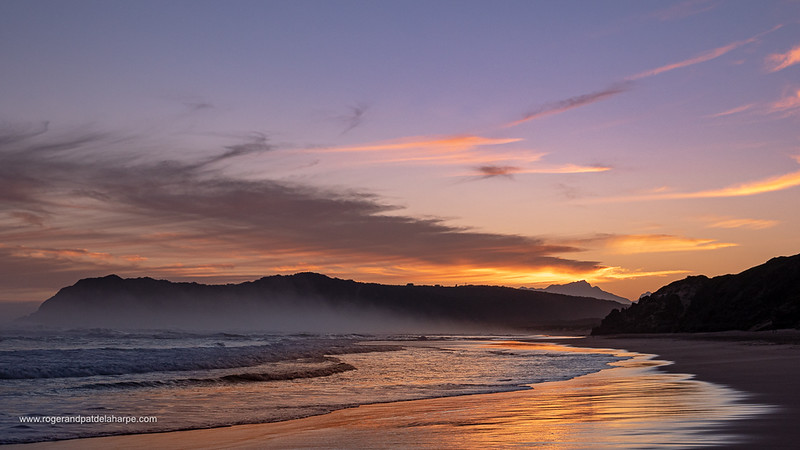 Beach scene at sunset. Sedgefield. Garden Route. Western Cape. South Africa