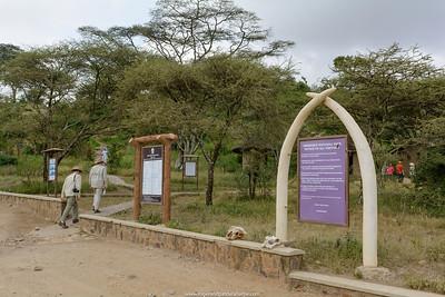 Interpretive signs at Naabi Hill Gate. Serengeti National Park. Tanzania.