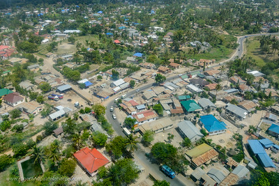 Aerial view of the outskirts of Dar es Salaam. Tanzania