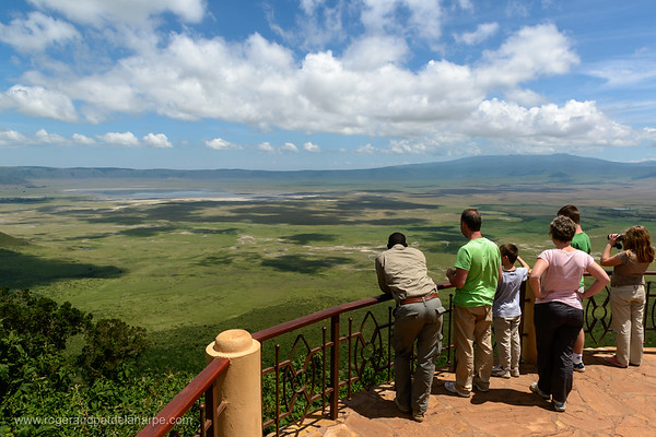 Tourists looking into Ngorongoro Crater from the rim. Serengeti National Park. Tanzania